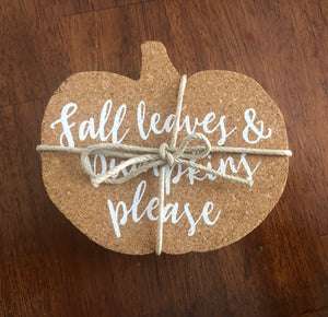 Cork Pumpkin Coasters