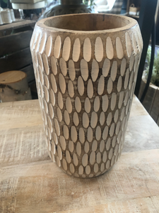 "10"" Carved Wood Planter"