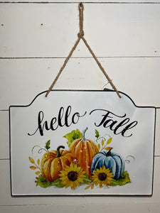 Dome Top Tin Pumpkin Sign