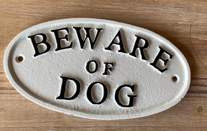 Cast Iron Beware of Dog