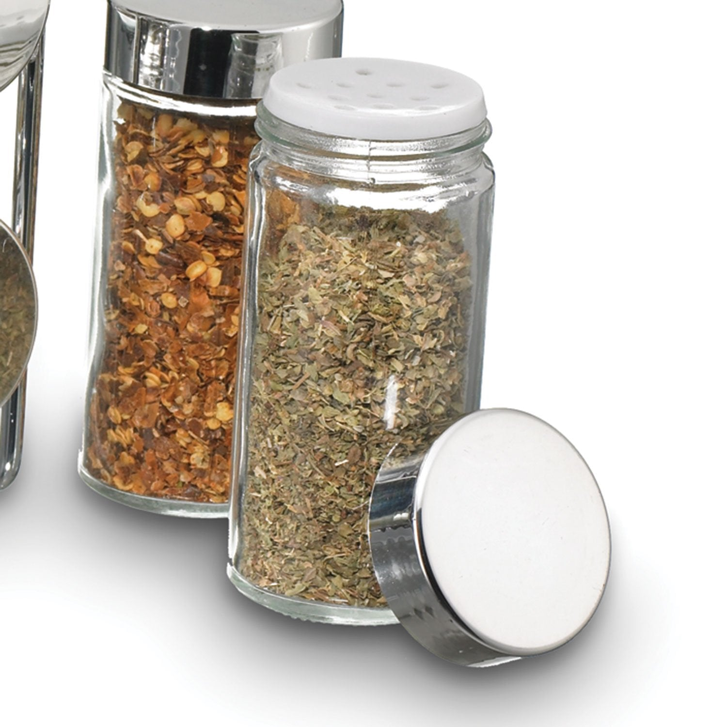 Compact Spice Rack Glass Jar