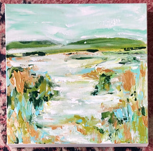 Dream a little Art | Original landscape abstract with greens and blues | South Carolina Artist