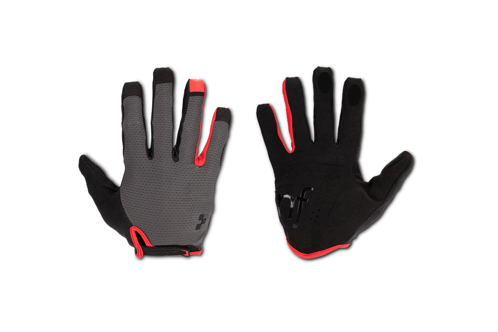 Guantes CUBE Natural Fit Long Finger grey´n´red
