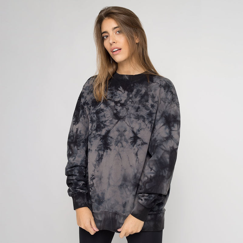 Sweatshirt Oversized Basic Tie Dye Black