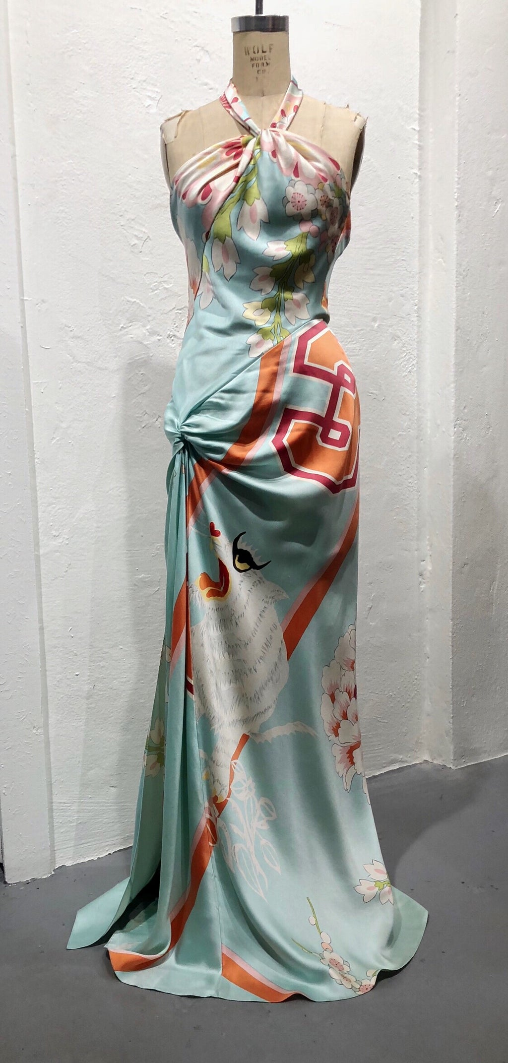 Christian Dior Boutique 2003 Asian print silk gown