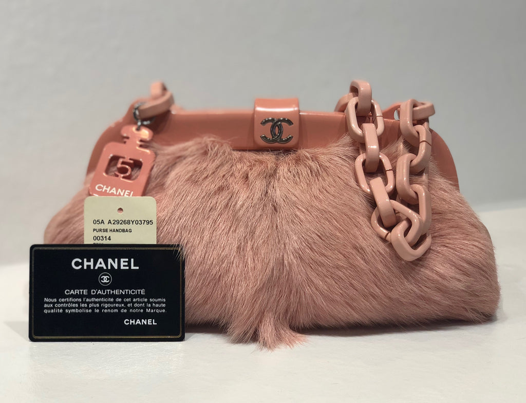 Chanel Pink Furry Resin Frame Bag