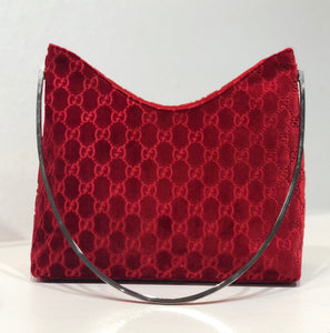 Tom Ford for Gucci Red Velvet Monogram Purse