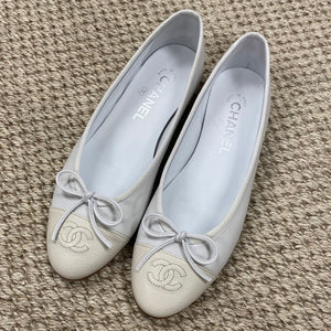 Chanel White & Cream Ballet Flats