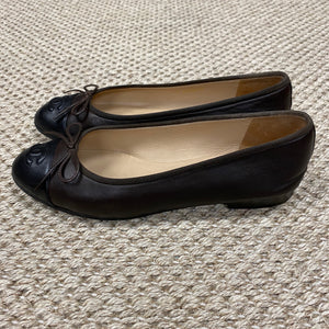 Chanel Brown & Black Ballet Flats