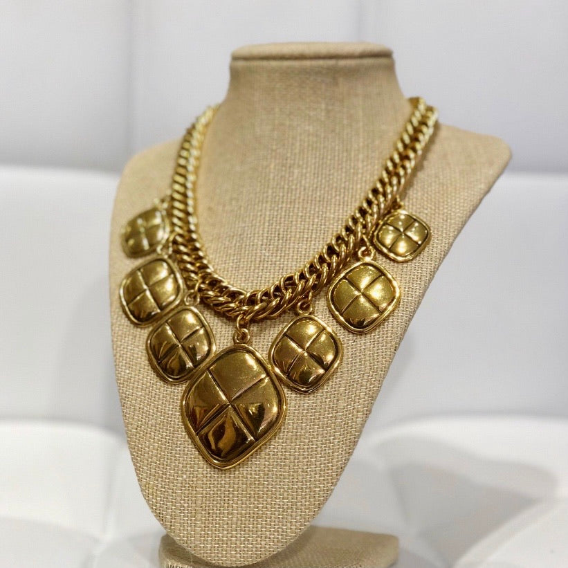 Chanel Vintage Quilted Charm Necklace