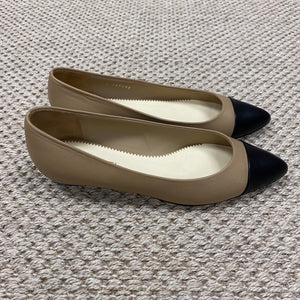 Chanel Tan & Black Pointed Toe Flats