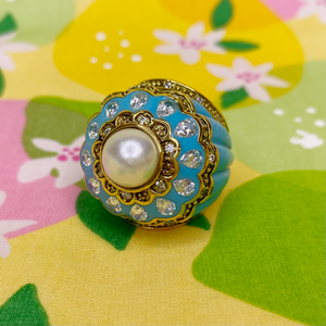Turquoise Enamel Ring with Pearl