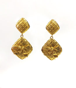 Chanel Vintage Gold Quilted Bow Earrings