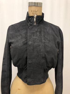 Rick Owens Grey Cropped Bomber Jacket