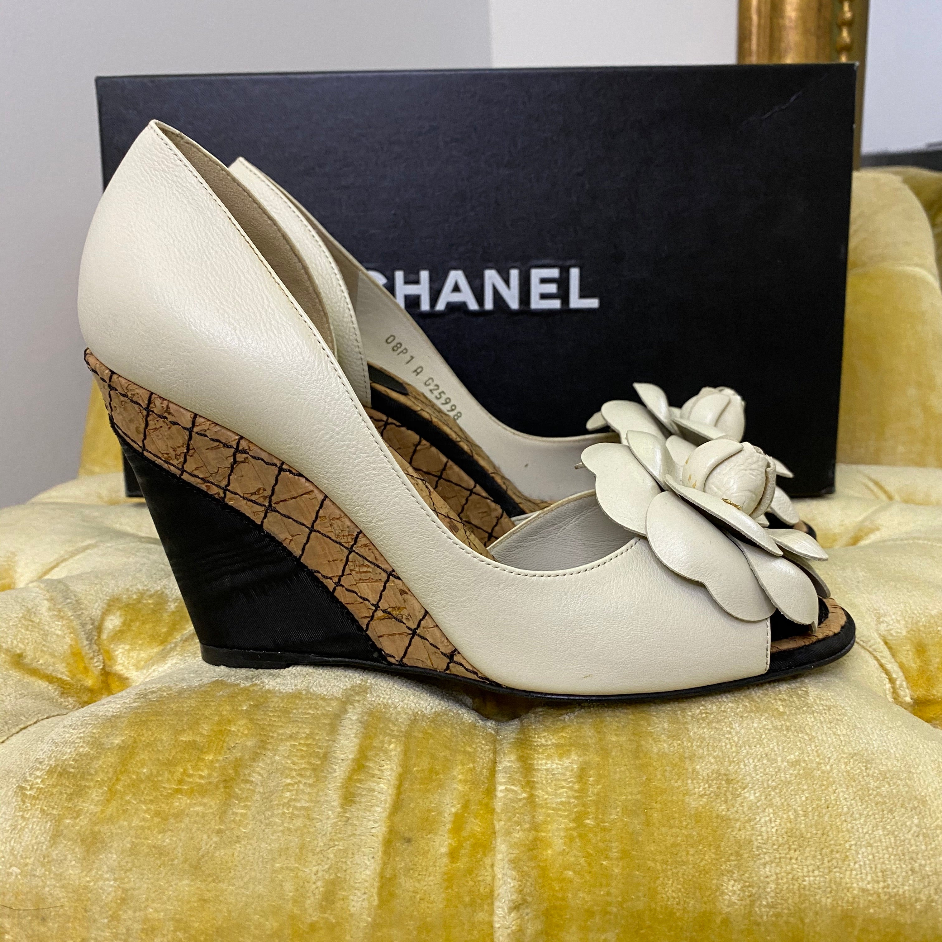 Chanel White Camellia Wedges