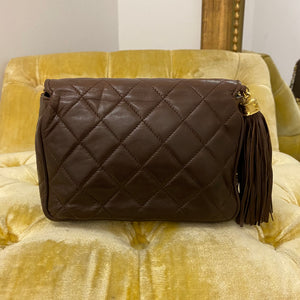 Chanel Vintage Chocolate Brown Tassel Flap Bag