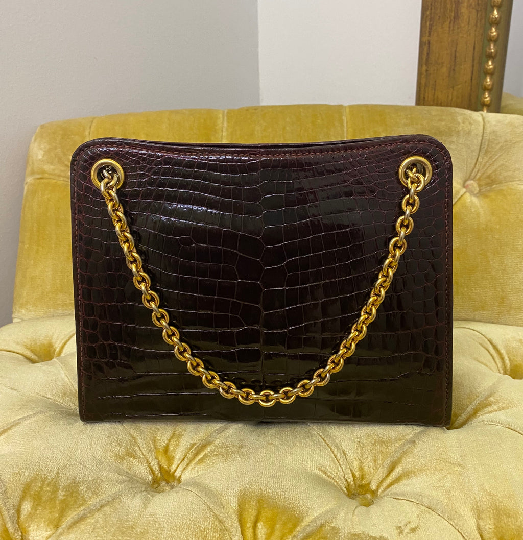 Gucci Vintage Burgundy Crocodile Chain Bag