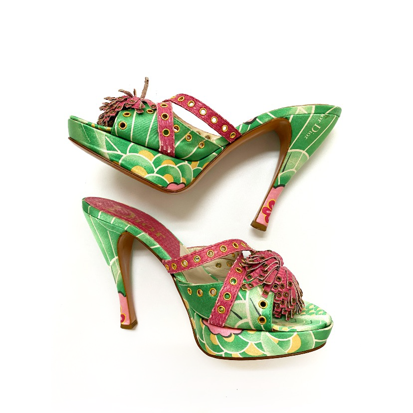 Galliano for Dior Green and Pink Heels