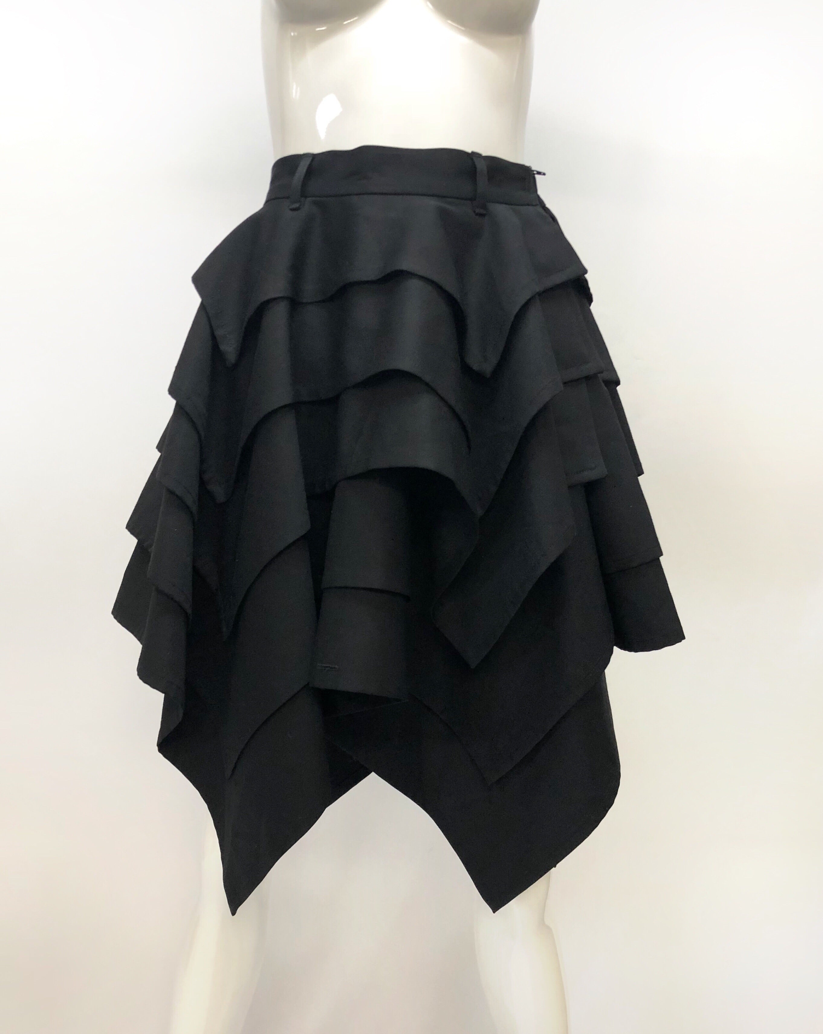 Jean Paul Gaultier Femme Black Tiered Handkerchief Skirt
