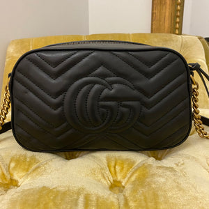 Gucci Black Marmont Bug Embellished Matelasse Bag