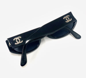 Chanel Vintage Black Small Frame Sunglasses