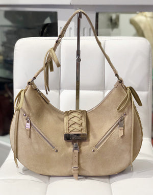 Christian Dior tan suede Admit It bag