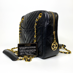Chanel Black Chevron Long Handle Tote
