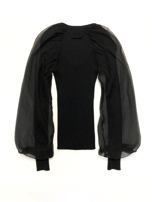 Jean Paul Gaultier Black Knit and Chiffon Top
