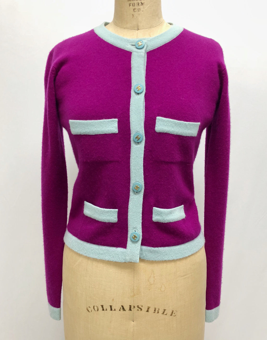 Chanel purple and blue cashmere sweater set