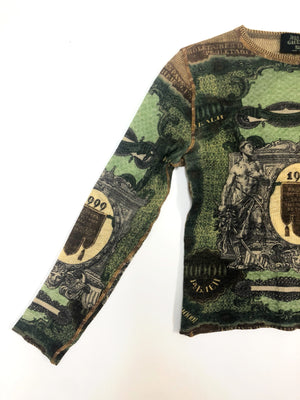 Jean Paul Gaultier 1999 Money Print Top