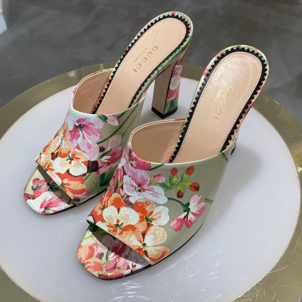 Gucci Bloom Heeled Slides