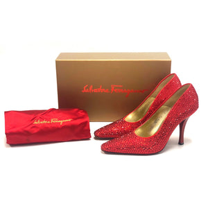 Salvatore Ferragamo Marilyn Monroe Limited Edition Red Crystal Pumps
