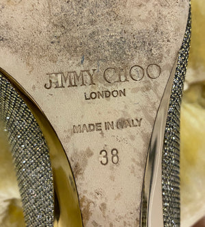 Jimmy Choo Baxen Glitter Peep Toe Wedge size 38