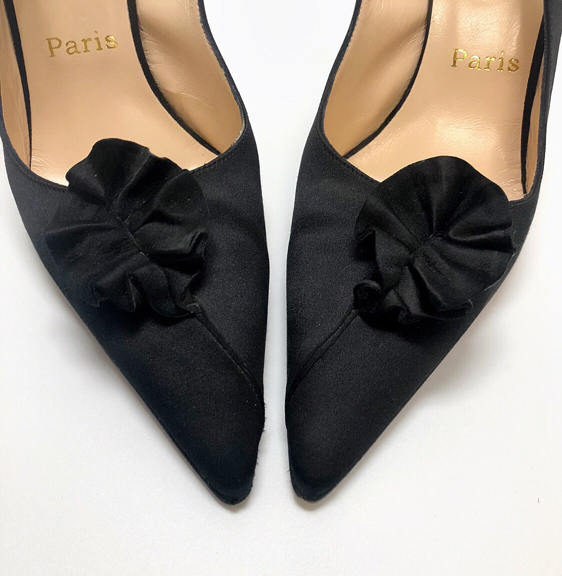 Christian Louboutin Black Satin Slingback Pumps