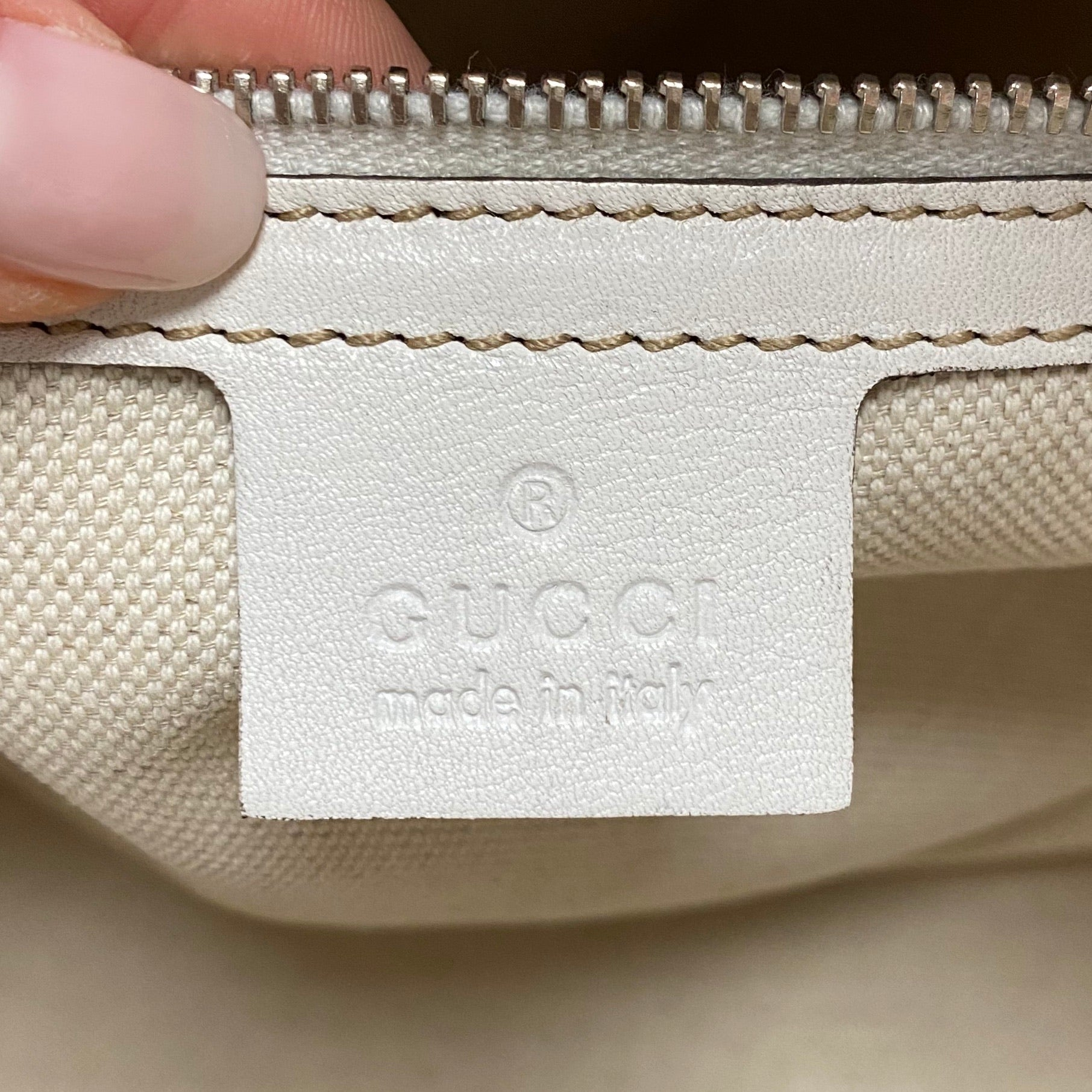 Gucci White Canvas Tote
