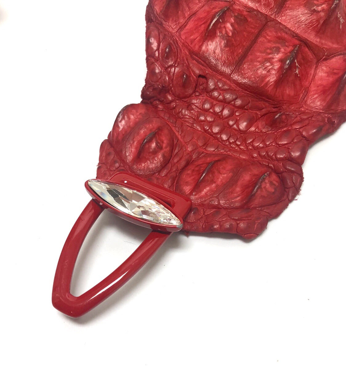 Rhinestone Buckle Red Alligator Belt
