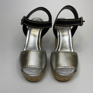 Prada Silver and Black Espadrille Wedges