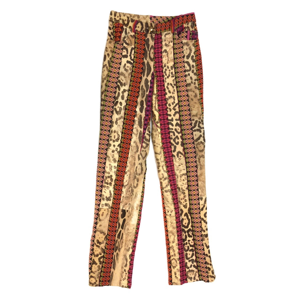 John Galliano Cow Hide Embroidered Pants