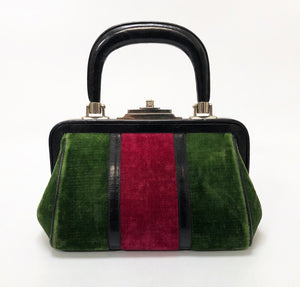 Roberta di Camerino Red and Green Velvet Doctor's Bag