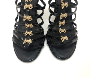 Chanel Black Patent Gold Bow Caged Heels