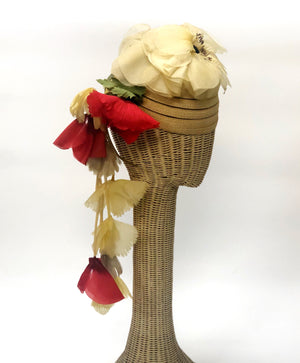 Christian Dior Vintage Hat With Flower Drop