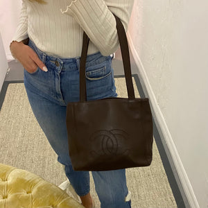 Chanel Vintage Chocolate CC Tote
