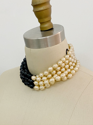 Karl Lagerfeld Two Tone Pearl Necklace