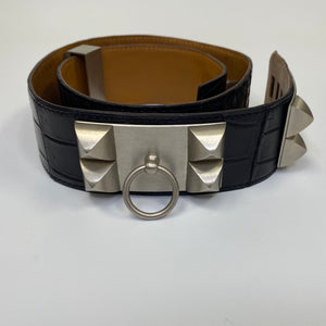 Hermès Black Crocodile Collier de Chien Belt