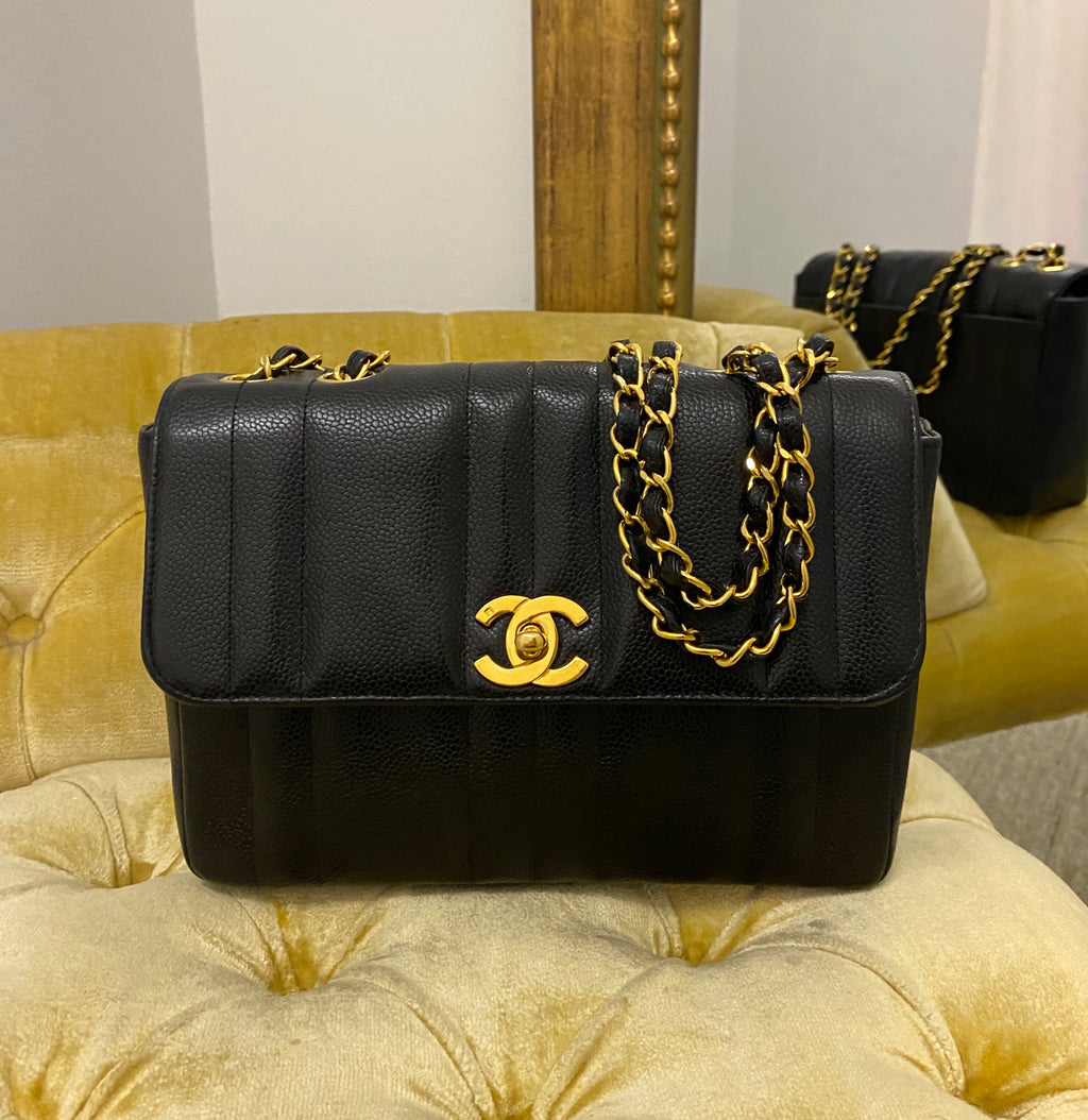 Chanel Vintage Black Caviar Vertical Half Flap