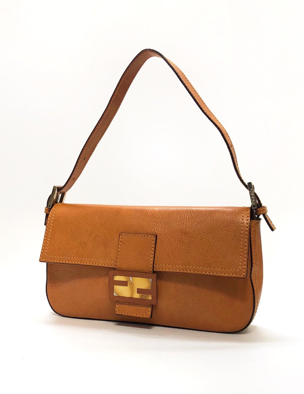 Fendi Cognac Leather Baguette