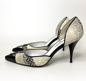Chanel Black and White Tweed D'Orsay Pumps