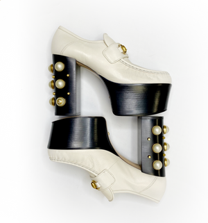 Gucci Vegas White Pearl Platform Loafers