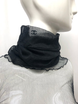 Chanel Black Sheer Ruched Sleeve Turtleneck
