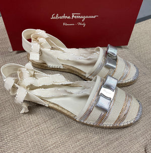 Salvatore Ferragamo Eileen Cream and Silver Espadrilles